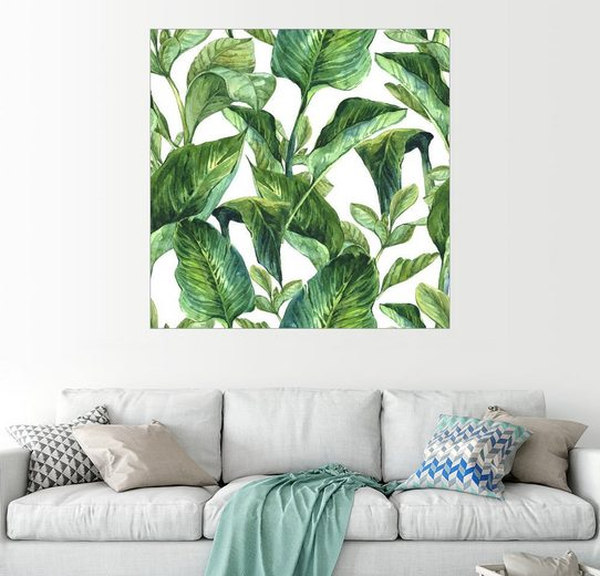 Posterlounge Wandbild »Tropische Blätter in Aquarell«