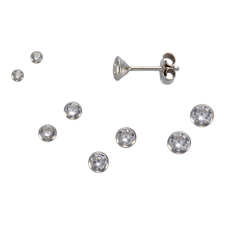 Firetti Ohrstecker »925/- Sterling Silber Set 3 Paar 2mm«