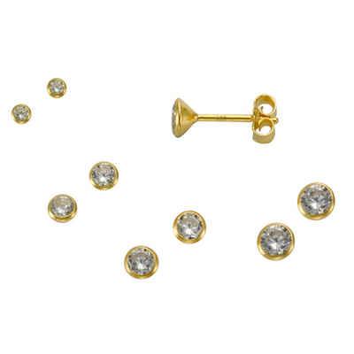 Vivance Paar Ohrstecker »925/- Silber vergoldet Set 3 Paar 3mm«, mit Geschenketui