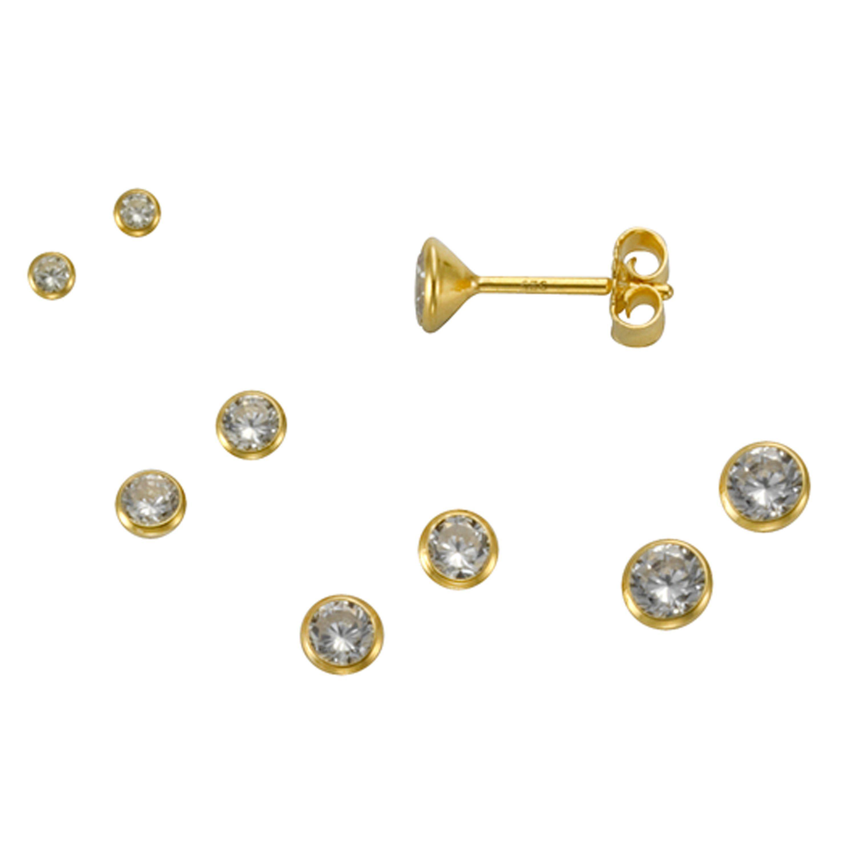 Firetti Ohrstecker »925/- Silber vergoldet Set 3 Paar 3mm«