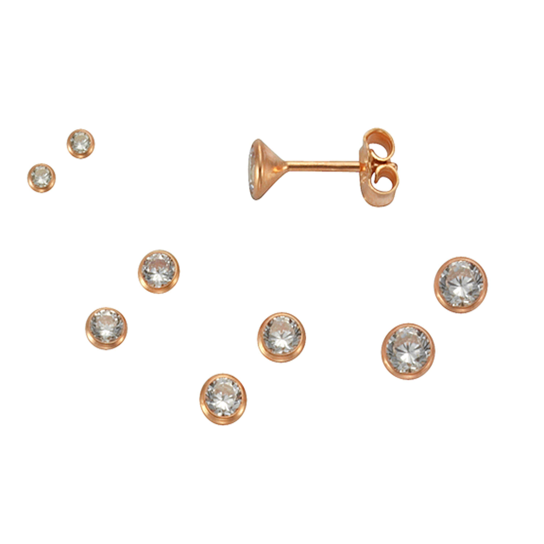 Firetti Ohrstecker »925/- Silber rotvergoldet Set 3 Paar 3mm«