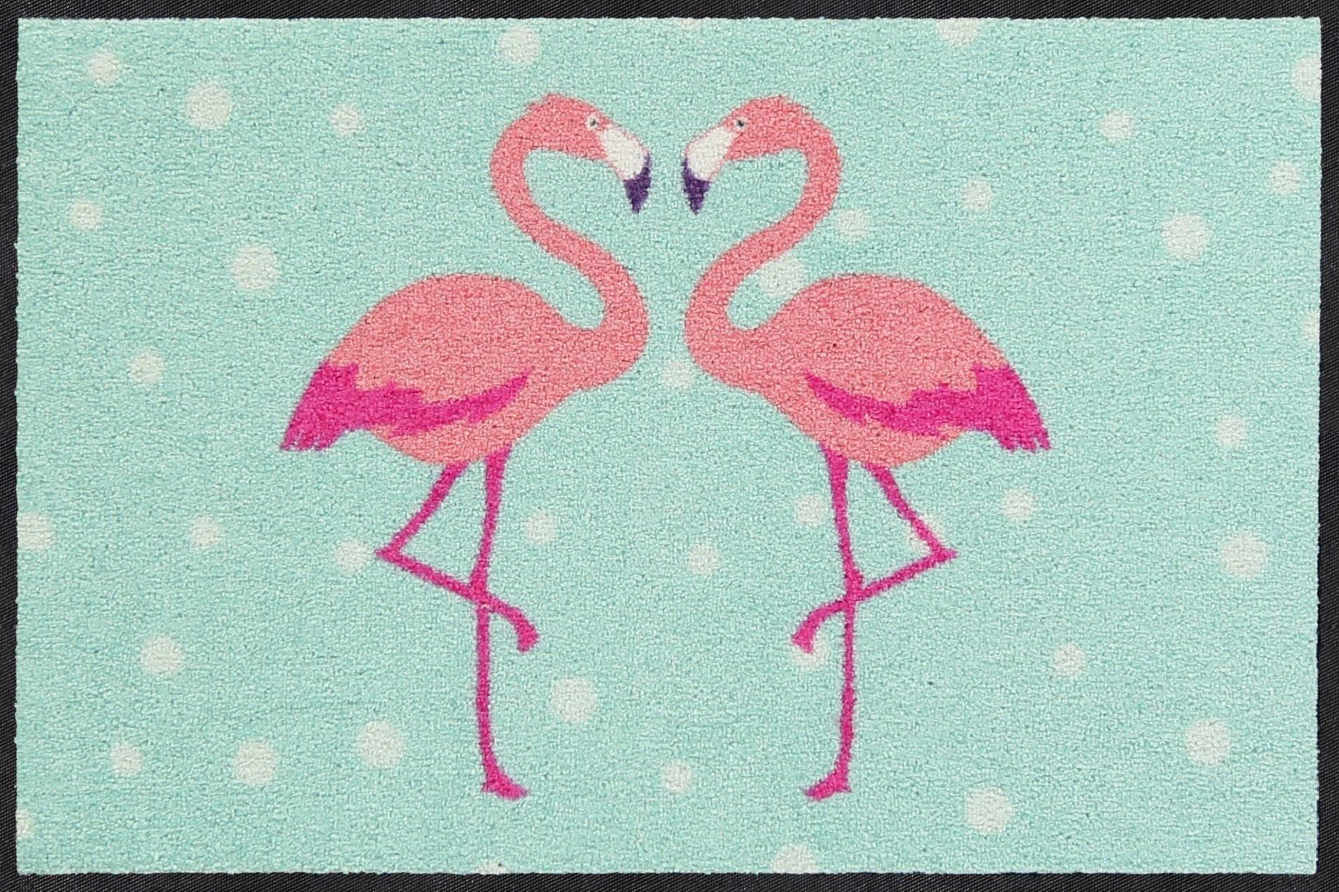 Fußmatte »Flamingo Heart«, Salonloewe, rechteckig, Höhe 7 mm, In- und Outdoor geeignet