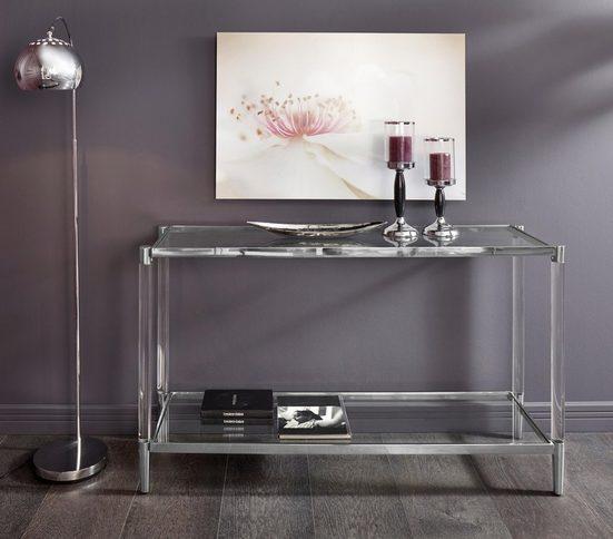 Leonique Beistelltisch »Ceadda«, mit Metallbeinen und einer Glastischplatte, in 2 Farben, Breite 130 cm