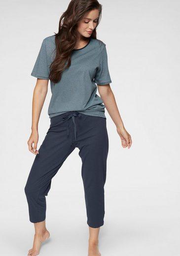 Schiesser Capri-Pyjama, mit fein gestreiftem T-Shirt