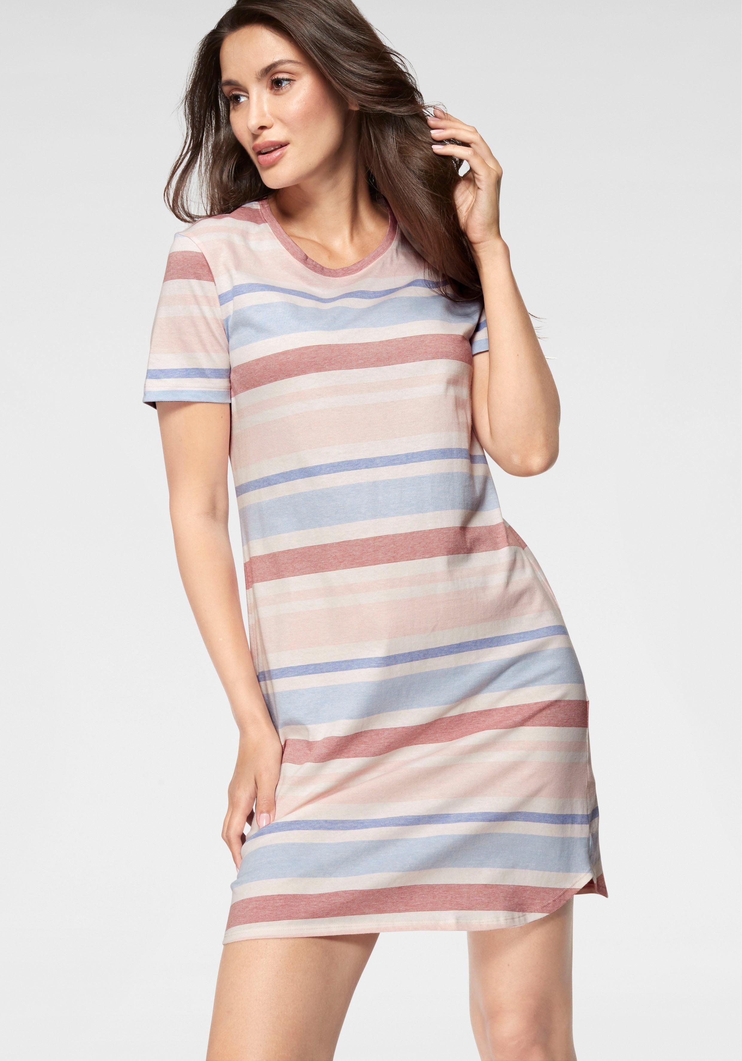 Schiesser Sleepshirt mit pastellfarbenen Streifen