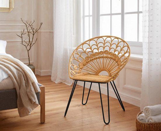 Guido Maria Kretschmer Home&Living Rattanstuhl »Bondy« mit aufwendigem Vintage Peacock Design und Metallbeinen