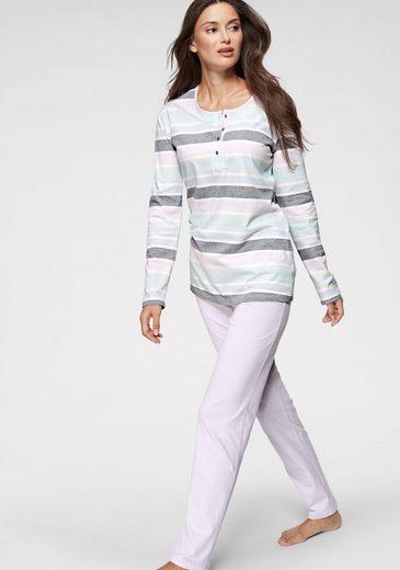 Schiesser Pyjama, mit breit gestreiftem Langarmshirt