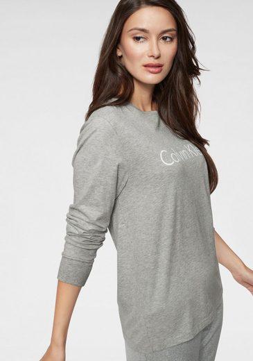Heather Klein Mit Logoprint Calvin Langarmshirt Grey OkiuPXZT