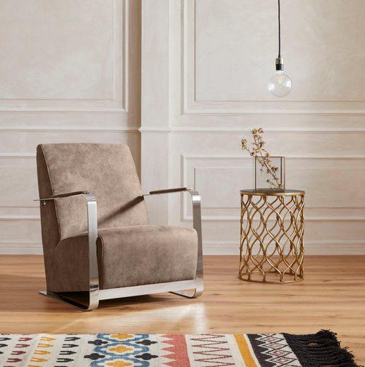 GMK Home & Living Armlehnstuhl »Ferrand« mit außergewöhnlichem Armlehnendesign, in 4 Trendfarben