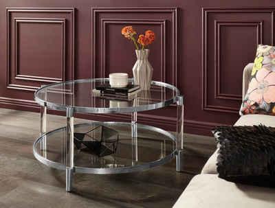 Leonique Couchtisch »Ceadda«, mit Metallbeinen und einer Glastischplatte, in 2 Farben, Breite 102 cm