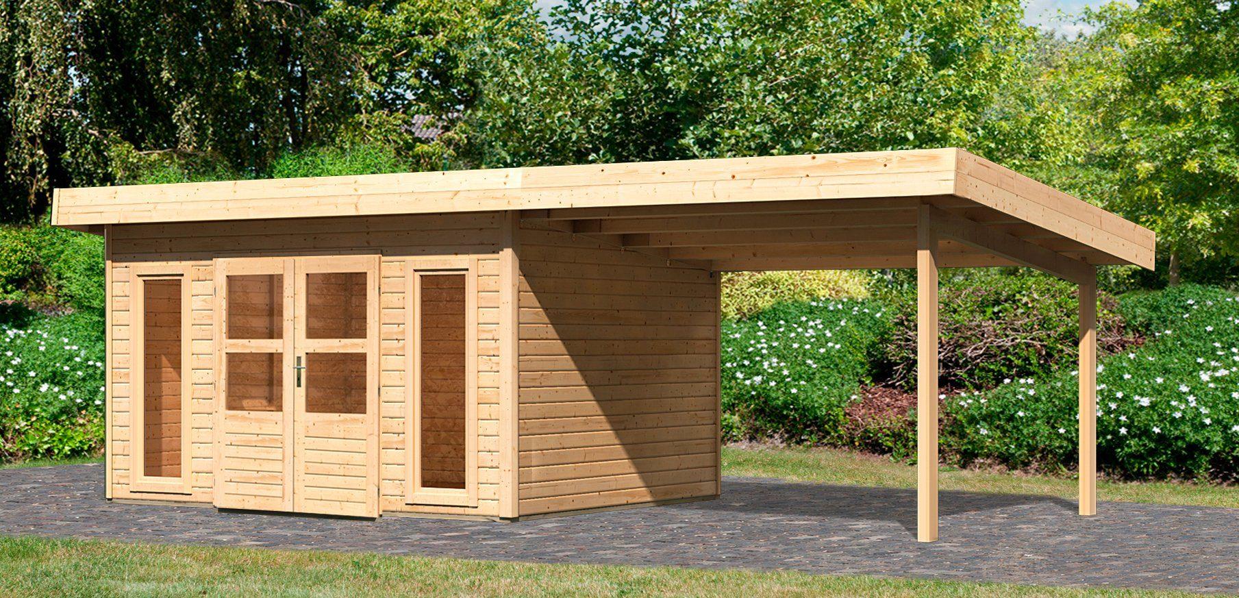 KONIFERA Set: Gartenhaus »Trondheim 4«, BxT: 751x360 cm, inkl. Anbaudach