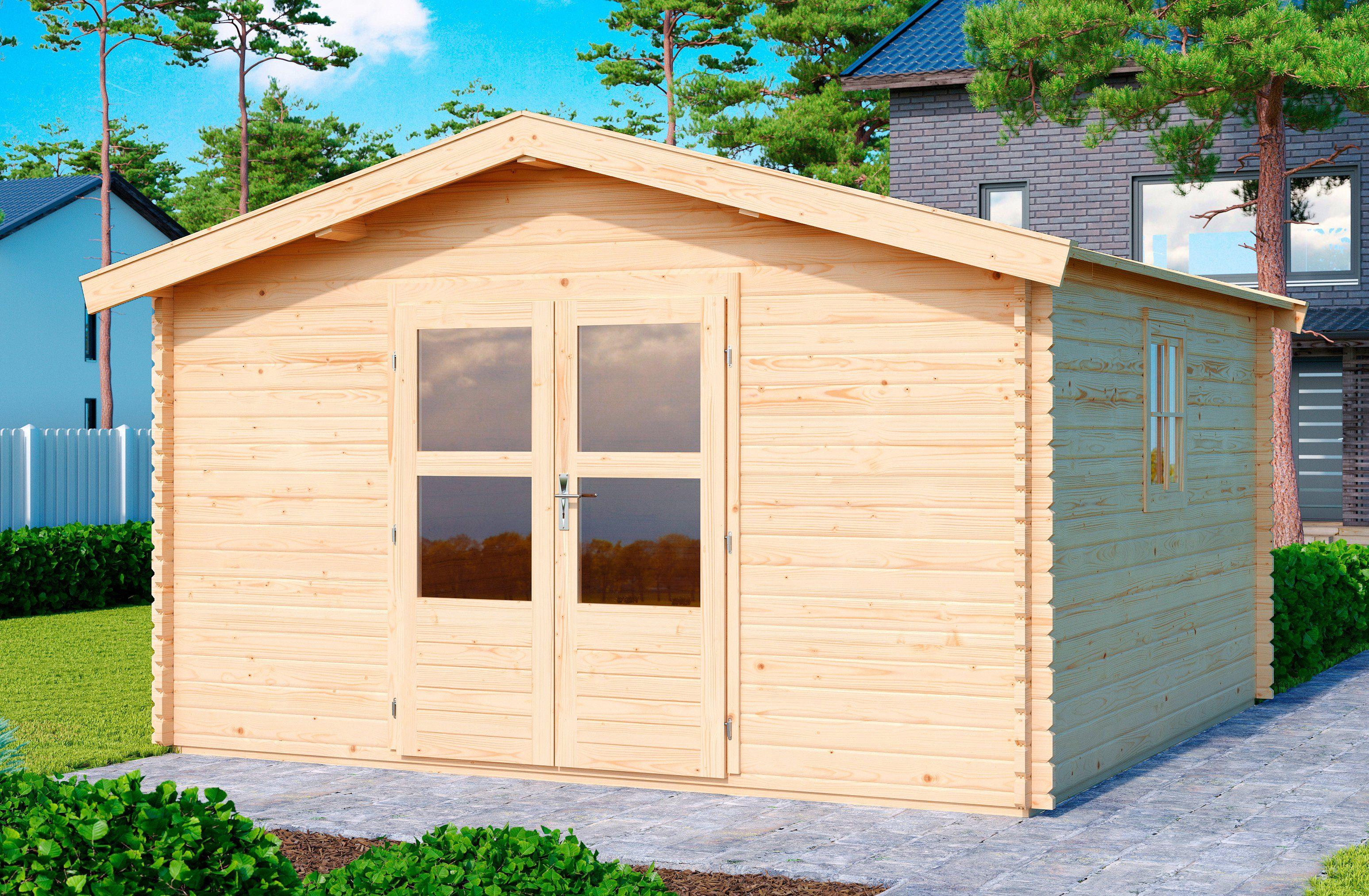 KONIFERA Set: Gartenhaus »Heidelberg 6«, BxT: 404x410 cm, inkl. Dachschindeln und Fußboden