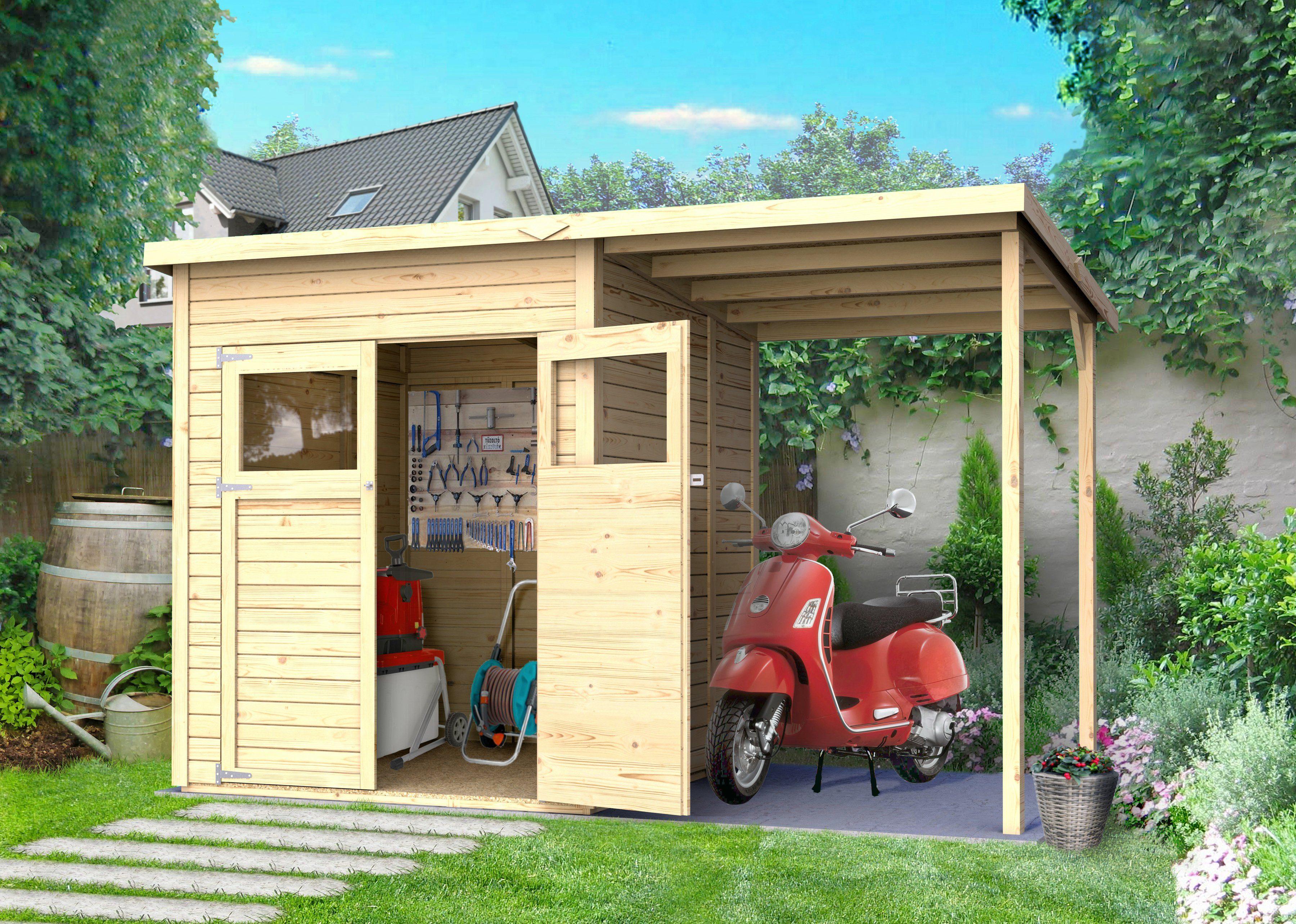 KONIFERA Set: Gartenhaus »Amrum 2«, BxT: 340x199 cm, inkl. Anbaudach und Fußboden