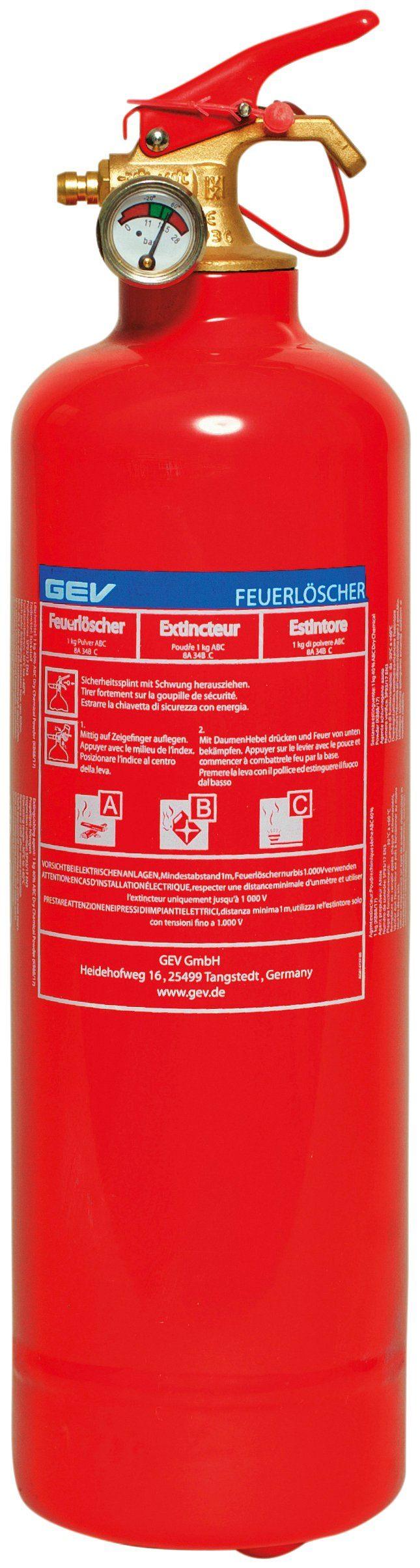GEV Feuerlöscher »Pulverlöscher 1 kg«, für Haus, Auto und Camping