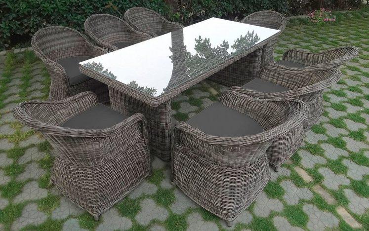 BAIDANI Gartenmöbelset »Charming«, 9-tlg., 8 Stühle, Tisch 90x200 cm, inkl. Auflage