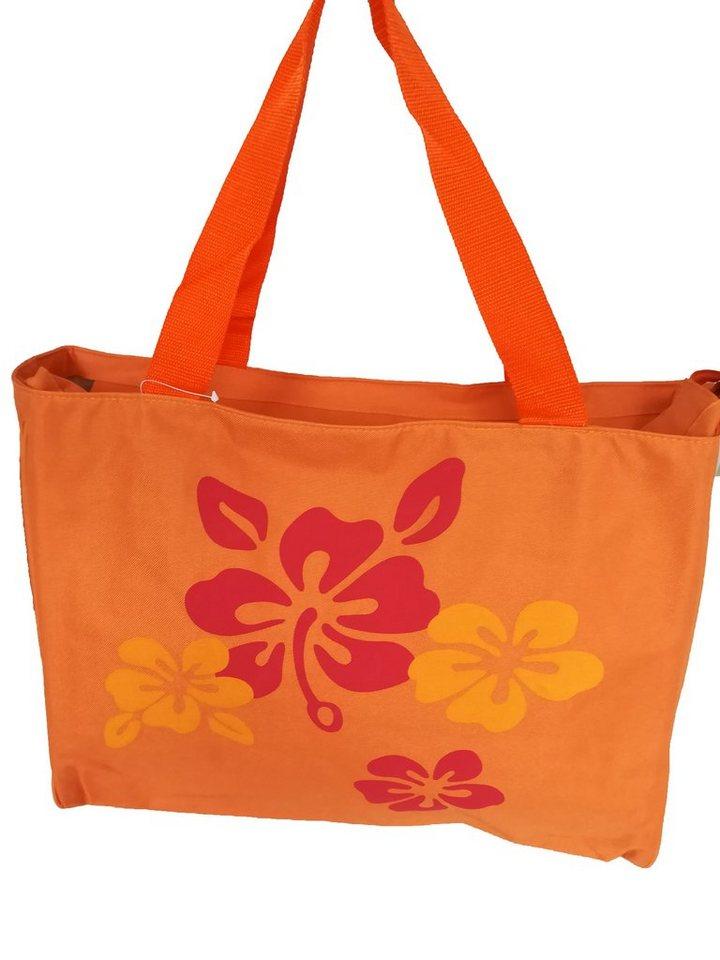 Damen HTI-Line Einkaufstasche Strandtasche Flower orange | 04251312936228
