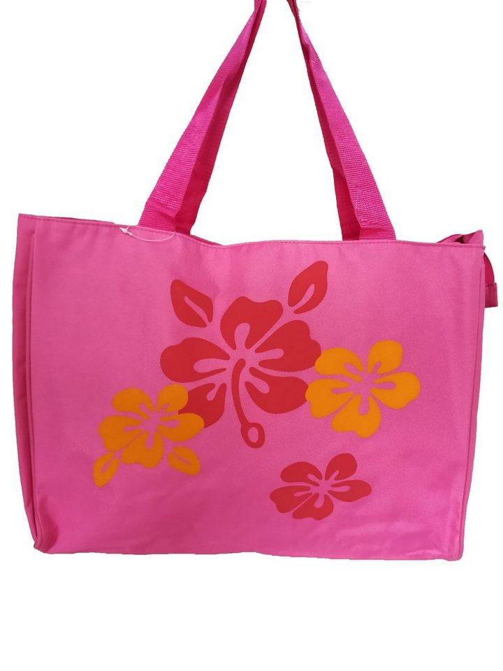 Damen HTI-Line Einkaufstasche Strandtasche Flower rosa | 04251312936211