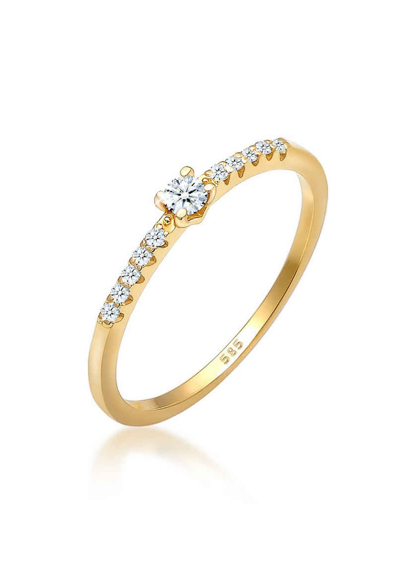 Diamore Verlobungsring »Geo Microsetting Diamant (0.11 ct) 585 Gelbgold«