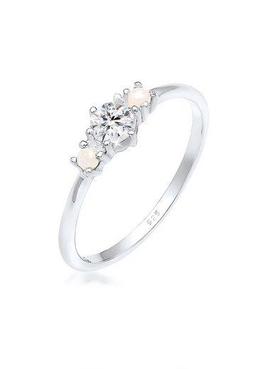 Elli Fingerring »Bandring Perle Swarovski® Kristalle 925er Silber«