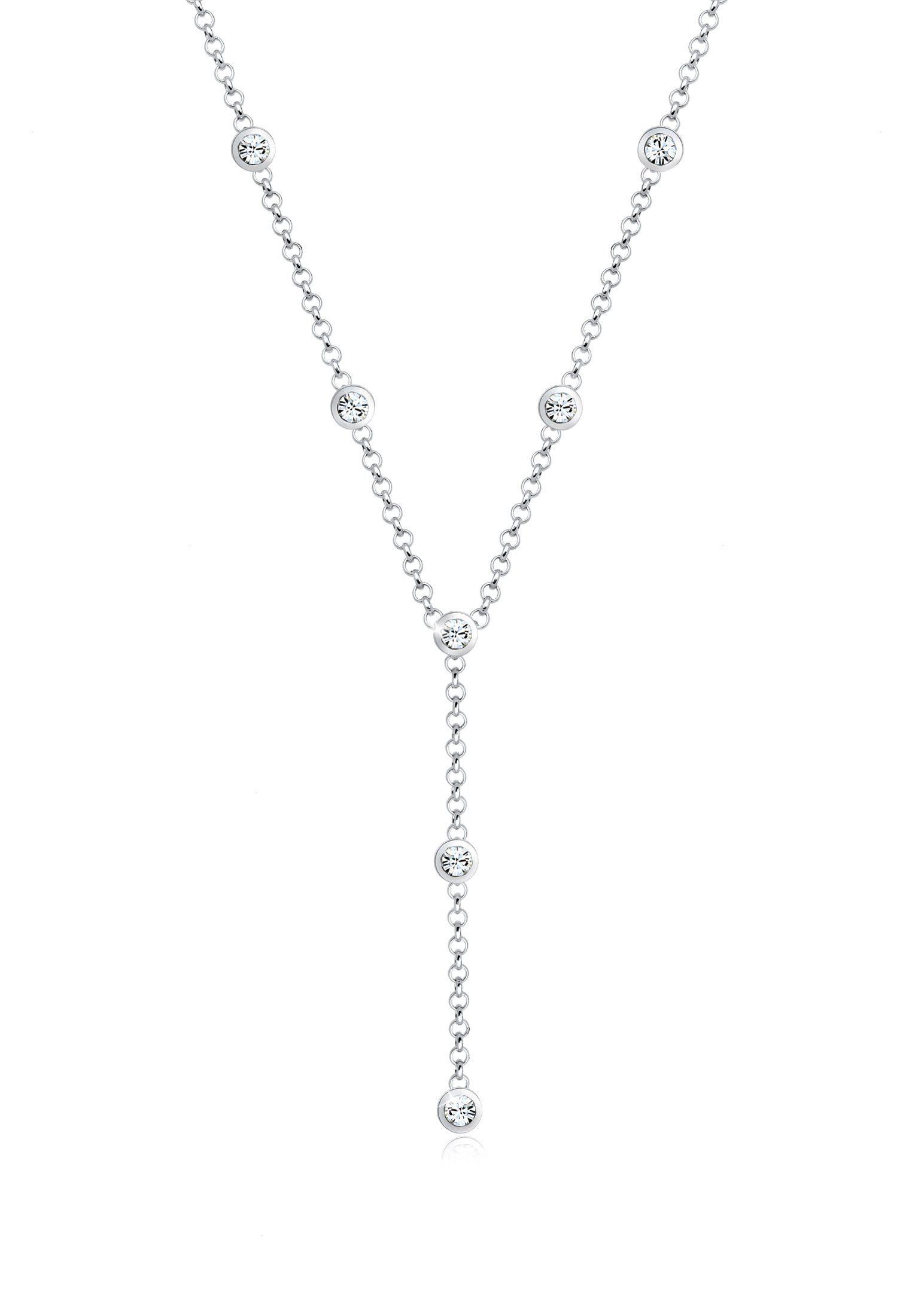 Elli Collierkettchen »Y-Kette Kreis Geo Swarovski® Kristalle 925 Silber«