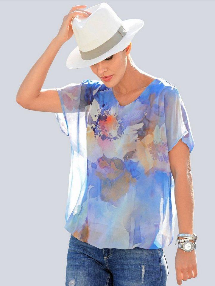 Damen Alba Moda Blusenshirt im angesagten Aquarelldessin blau | 04030345557521