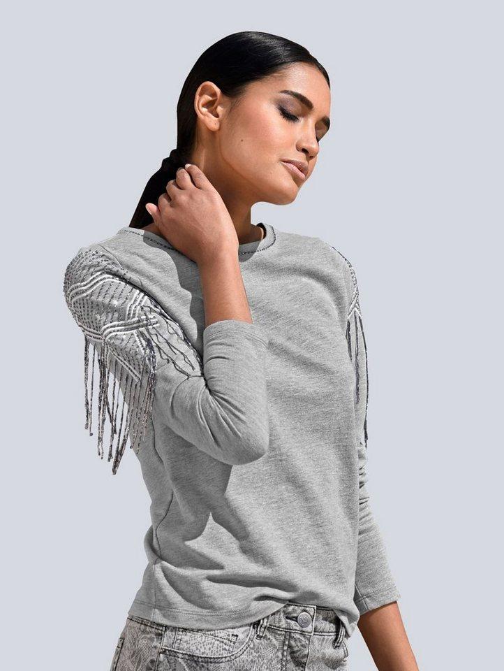 Damen Alba Moda  Sweatshirt mit Perlenstickerei grau | 04055717452853
