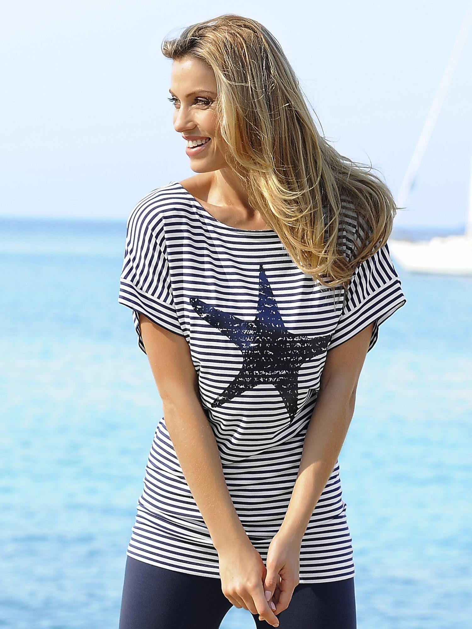Alba Moda Streifenshirt mit Seestern-Druck