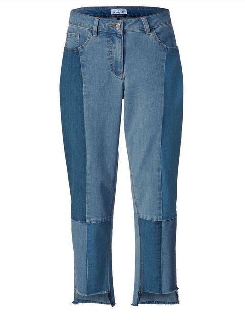 Hosen - Angel of Style by Happy Size Slim Fit Jeans knöchellang mit Fransensaum › blau  - Onlineshop OTTO
