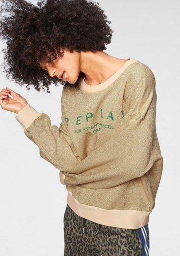 Replay Sweatshirt mit metallisierten Fasern
