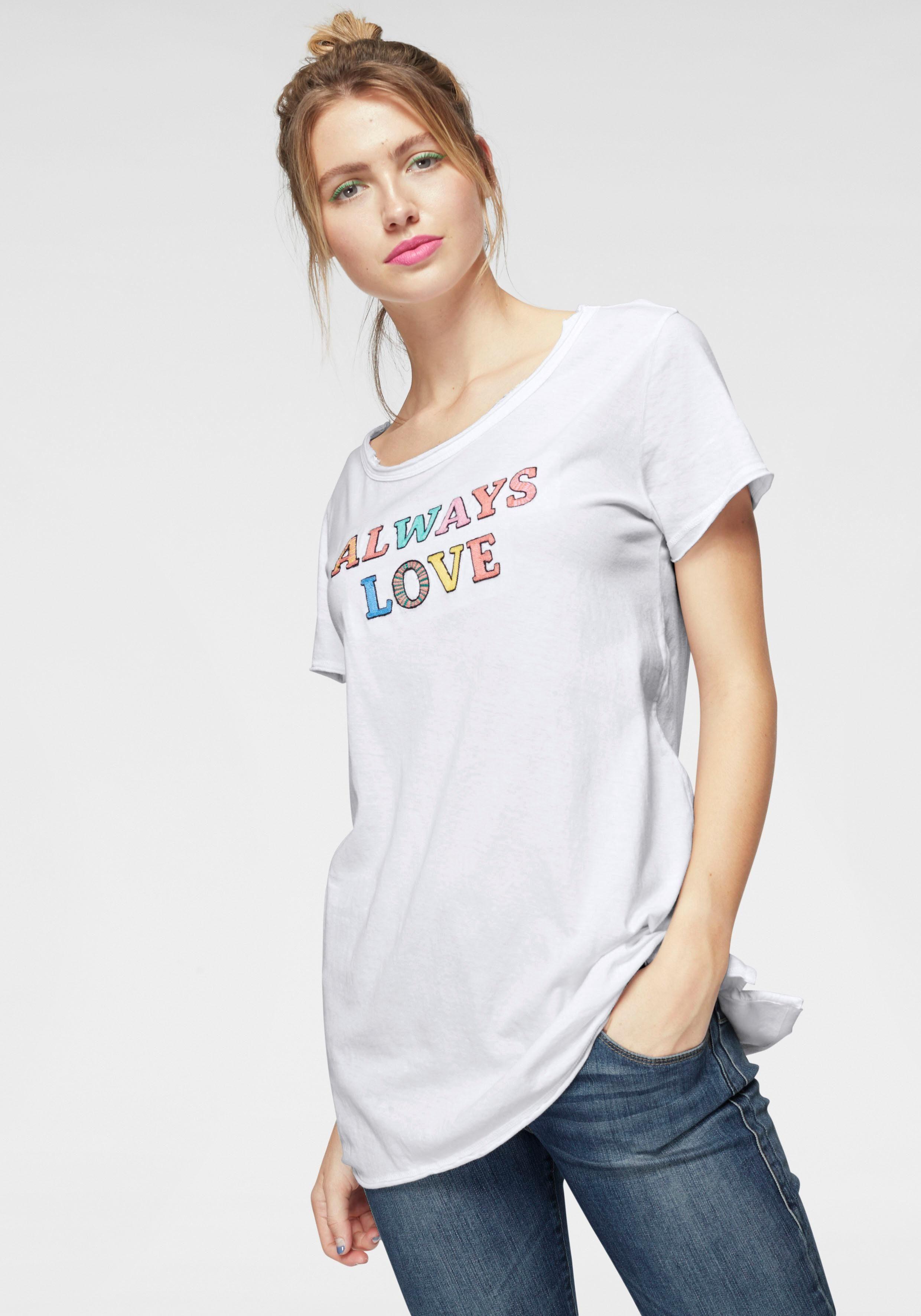 T shirt Herrlicher »milen« Farbenfrohem print Online Kaufen Mit Statement wPkX80ONn