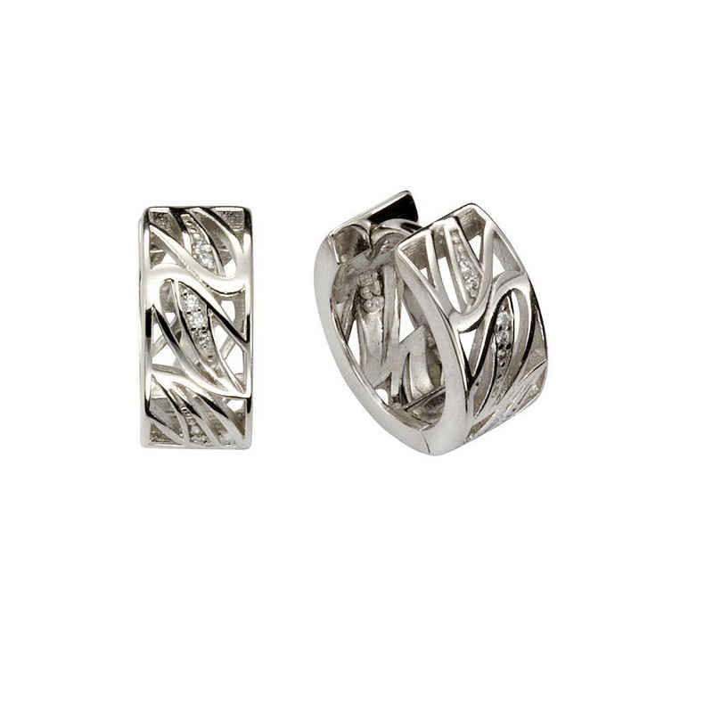 Vivance Klappcreolen »925/- Sterling Silber 14x Zirkonia«, rhodiniert