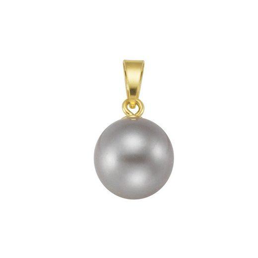 Vivance Anhänger »925/- Sterling Silber vergoldet Perle grau«