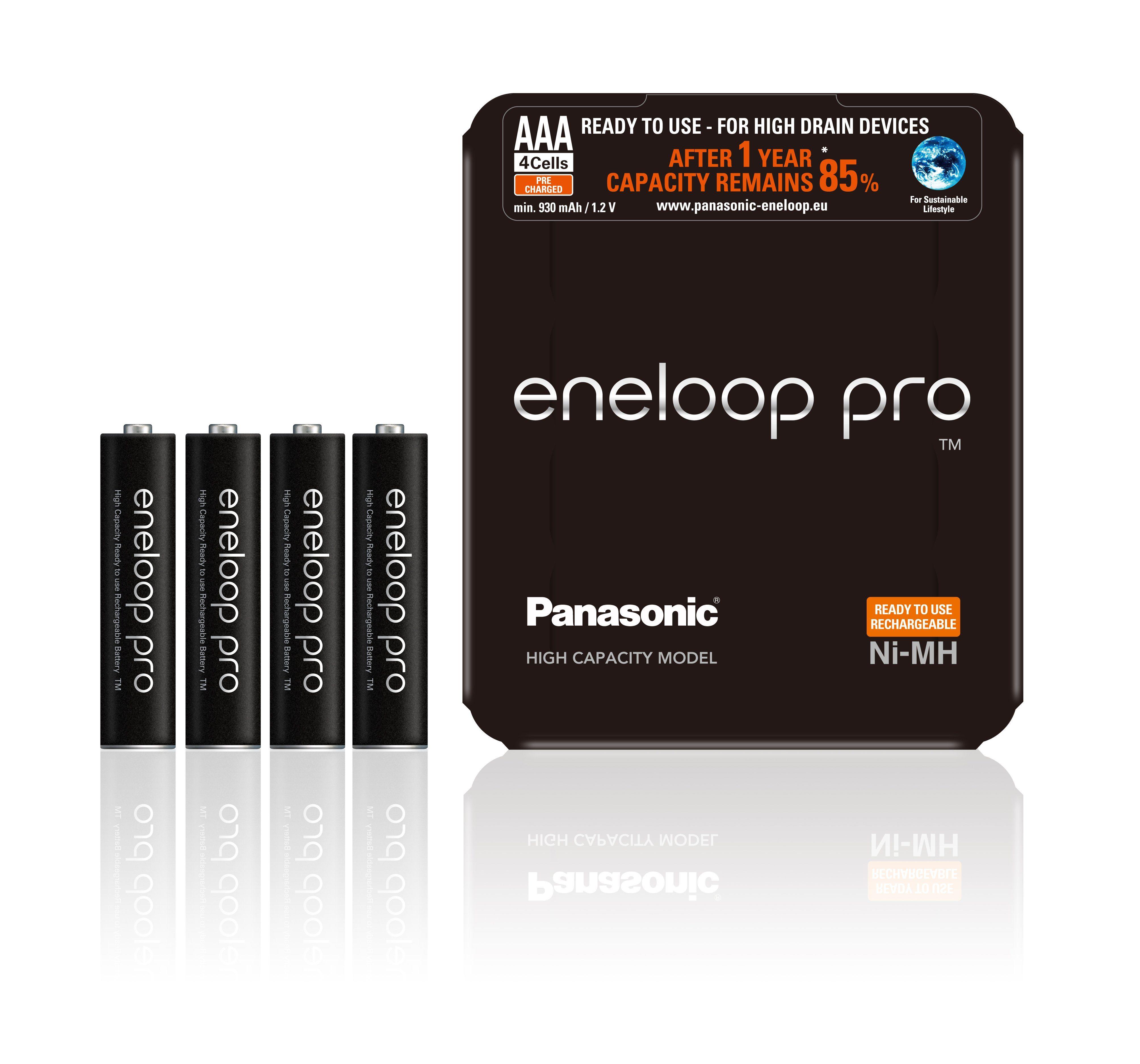 Panasonic eneloop pro 4 recyclebare, vorgeladene Akkus, AAA (Micro) »BK-4HCDE/4LE«