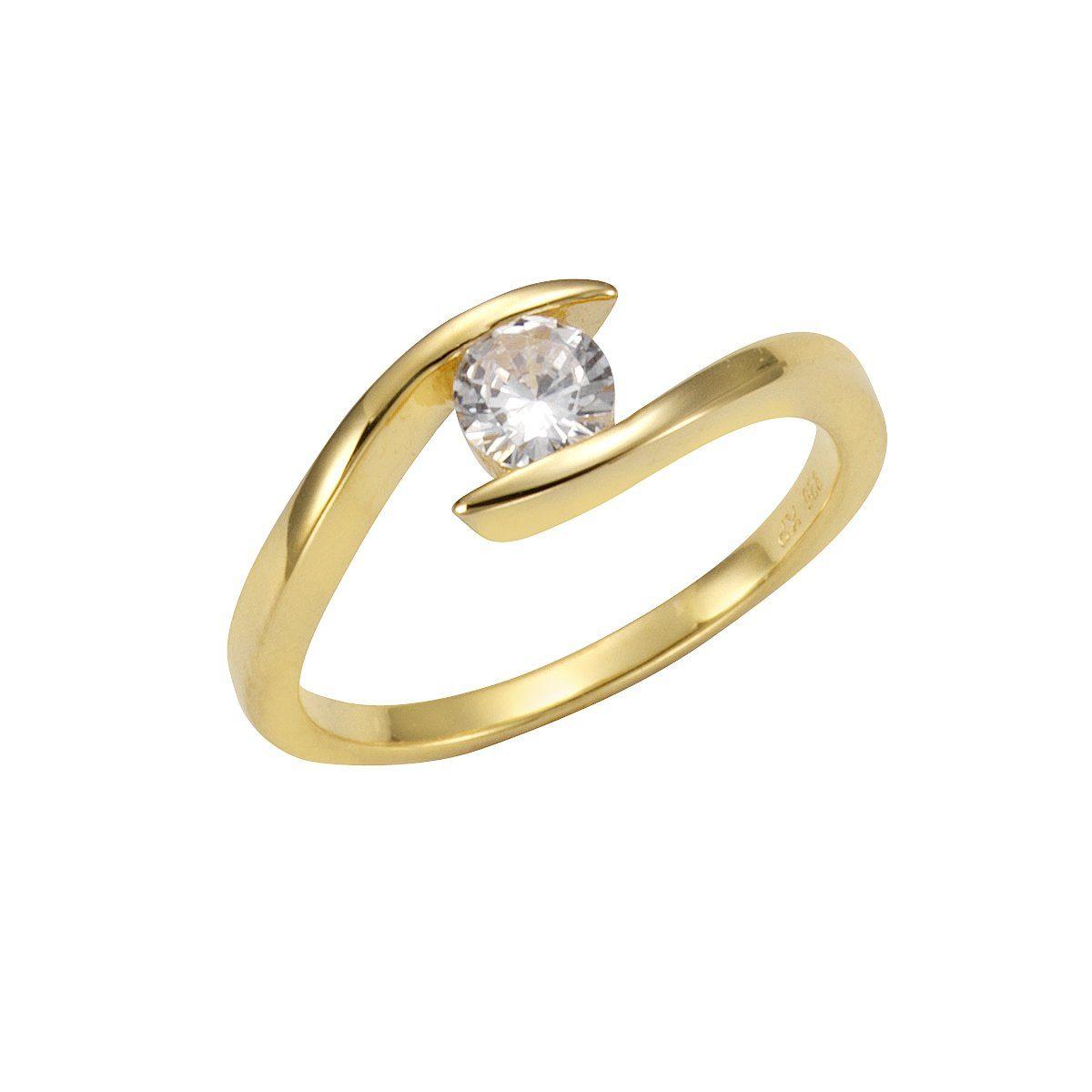 VIVANCE Ring »925-/ Sterling Silber vergoldet Zirkonia«