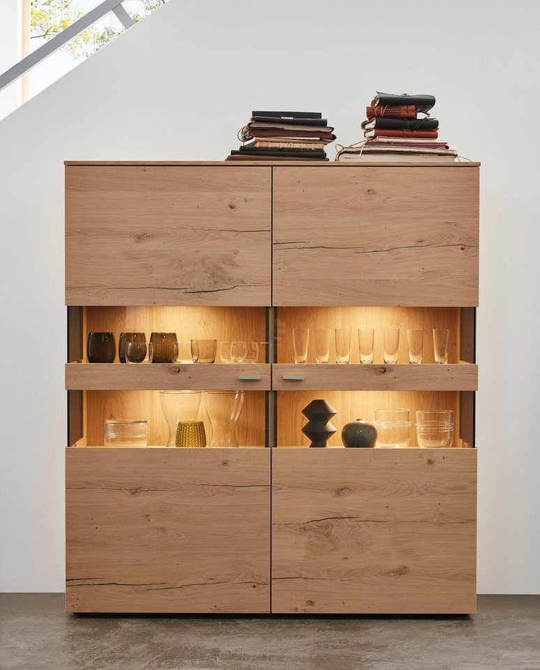 Netfurn by gwinner wohnwand anzio holz 151 breite 130 for Holz wohnwand