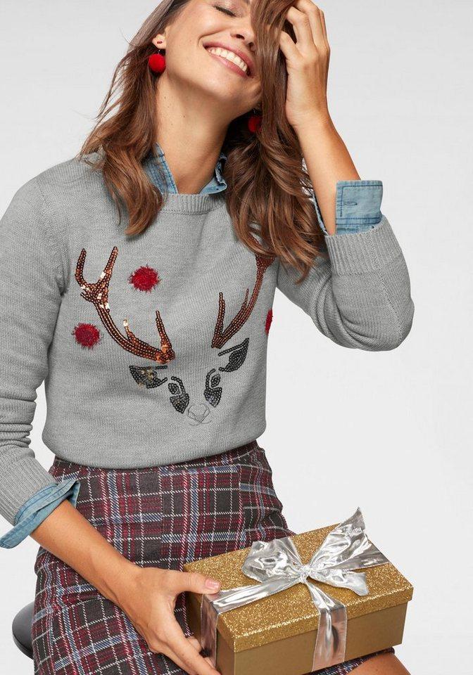 kangaroos -  Rundhalspullover mit Weihnachts-Christmas-Motiv aus Pailletten