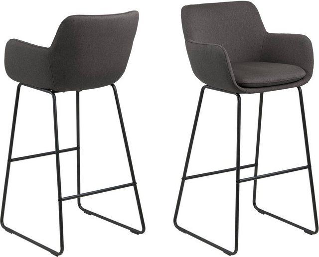 Sessel und Hocker - andas Barhocker »Lene« (Set, 2 St), aus einem schönen Webstoff Bezug, mit einem Metallgestell, Sitzhöhe 76 cm  - Onlineshop OTTO