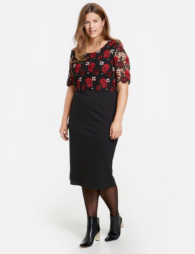 SAMOON Kleid Gewirke »Midi-Kleid mit Spitze«   OTTO