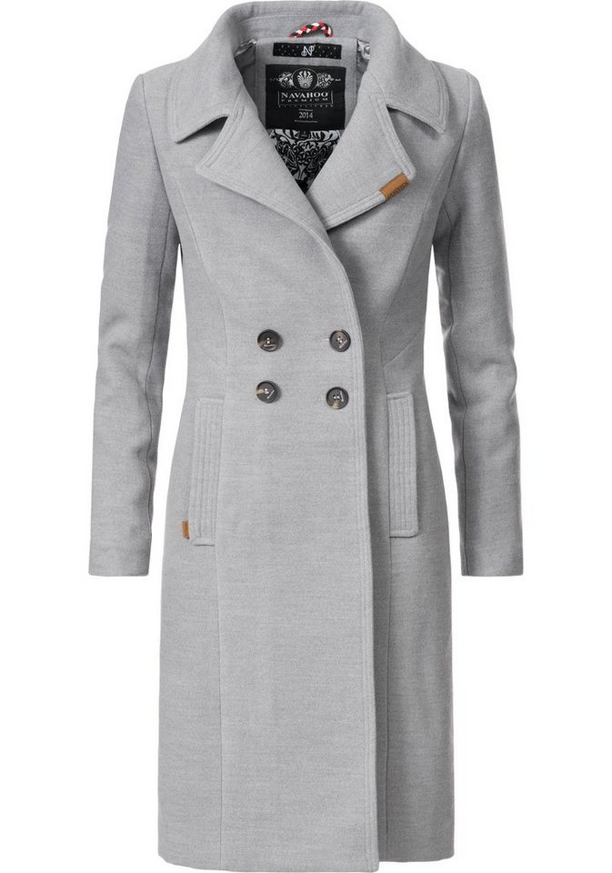 Navahoo Wintermantel »Wooly« edler Damen Trenchcoat in Wollmantel ... 9ea5f7ef1b