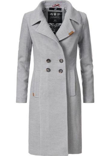 Navahoo Wintermantel »Wooly« edler Damen Trenchcoat in Wollmantel-Optik