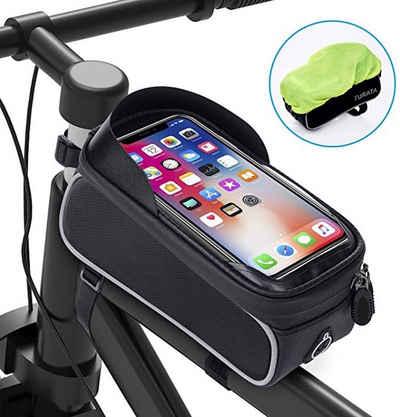 vokarala Fahrradtasche, Fahrrad Rahmentasche Wasserdicht Fahrradtasche Lenkertasche Handyhalterung Handyhalter Handytasche Oberrohrtasche mit Kopfhörerloch Reflektierend für Smartphone unter 6,5 Zoll