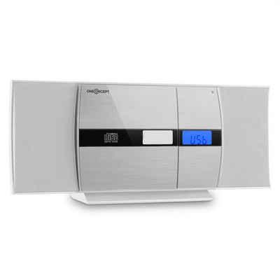 ONECONCEPT »V-15-BT Stereoanlage Bluetooth CD USB MP3 UKW Wandmontage Fernbedienung weiß/silber« Kompaktanlage (UKW Radio, 0 W)