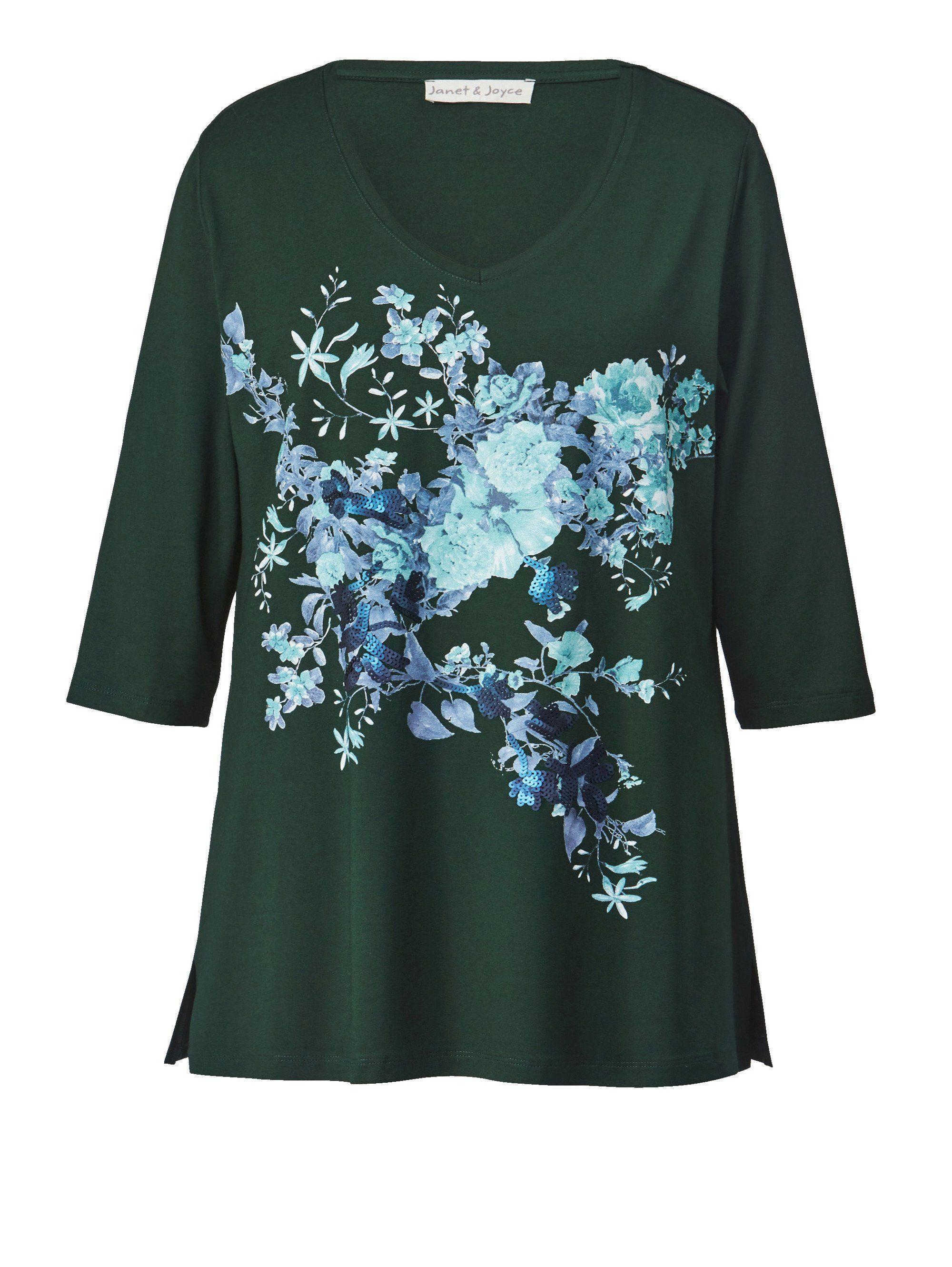 Janet Online Kaufen Size Blumen print Joyce Und By Happy Mit Shirt Pailletten 80wOkPNnX