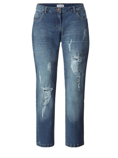Angel of Style by Happy Size Slim Fit Jeans mit Destroyed-Effekt