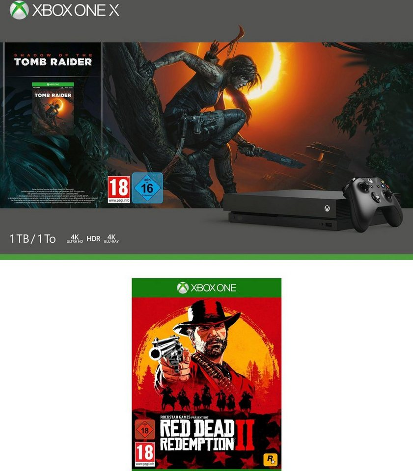 xbox one x 1tb bundle inkl shadow of the tomb raider. Black Bedroom Furniture Sets. Home Design Ideas