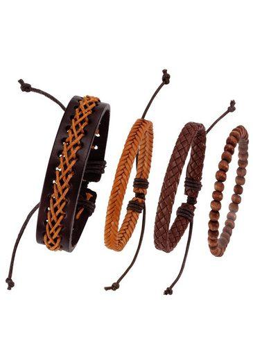 J.Jayz Armband Set »kann auch einzeln getragen werden« (Set, 4-tlg), mit Holzperlen