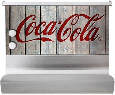 WENKO Küchenrollenhalter »Coca-Cola Wood«, Edelstahl und Glas, magnetisch, mit Ablage