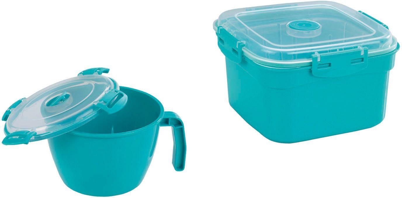 WENKO Mikrowellen-Geschirr, Tasse und Dampfgarer, 900 ml & 2000 ml, 2er Set