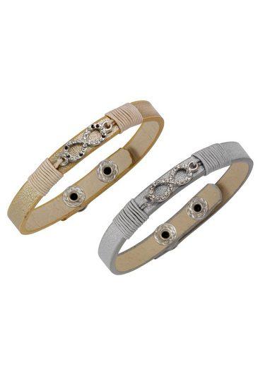 J.Jayz Armband Set »Infinity/Unendlichkeitsschleife, auch einzeln tragbar« (Set, 2 tlg) mit Glassteinen