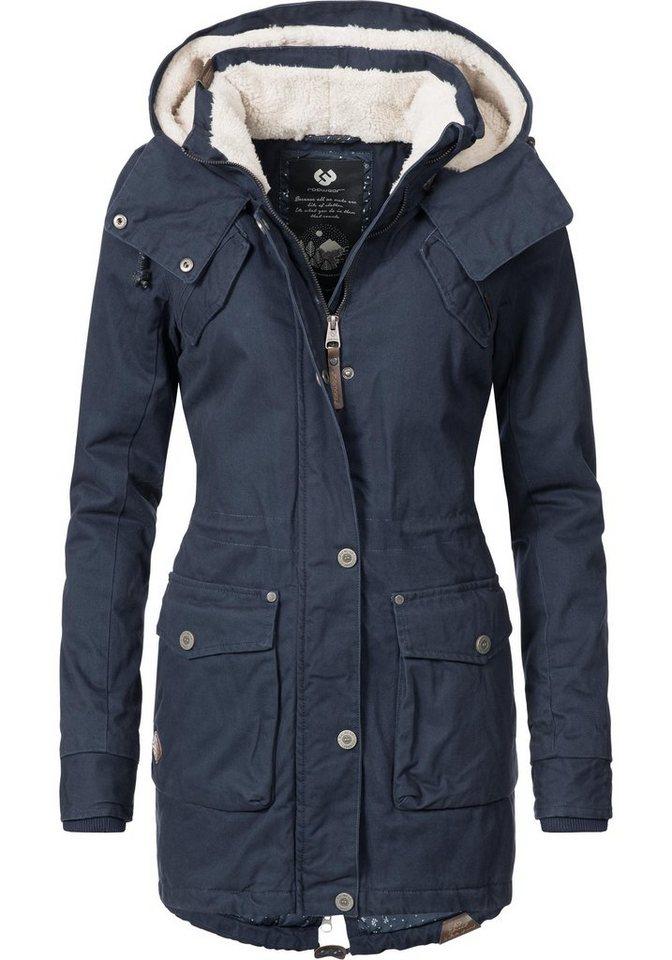 Damen Ragwear Winterjacke Clancy stylischer Baumwoll Parka mit Kapuze blau   04251490120952